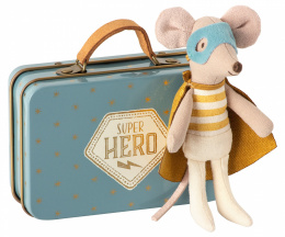 Maileg Myszka Superbohater w walizce - Superhero mouse, Little brother in suitcase